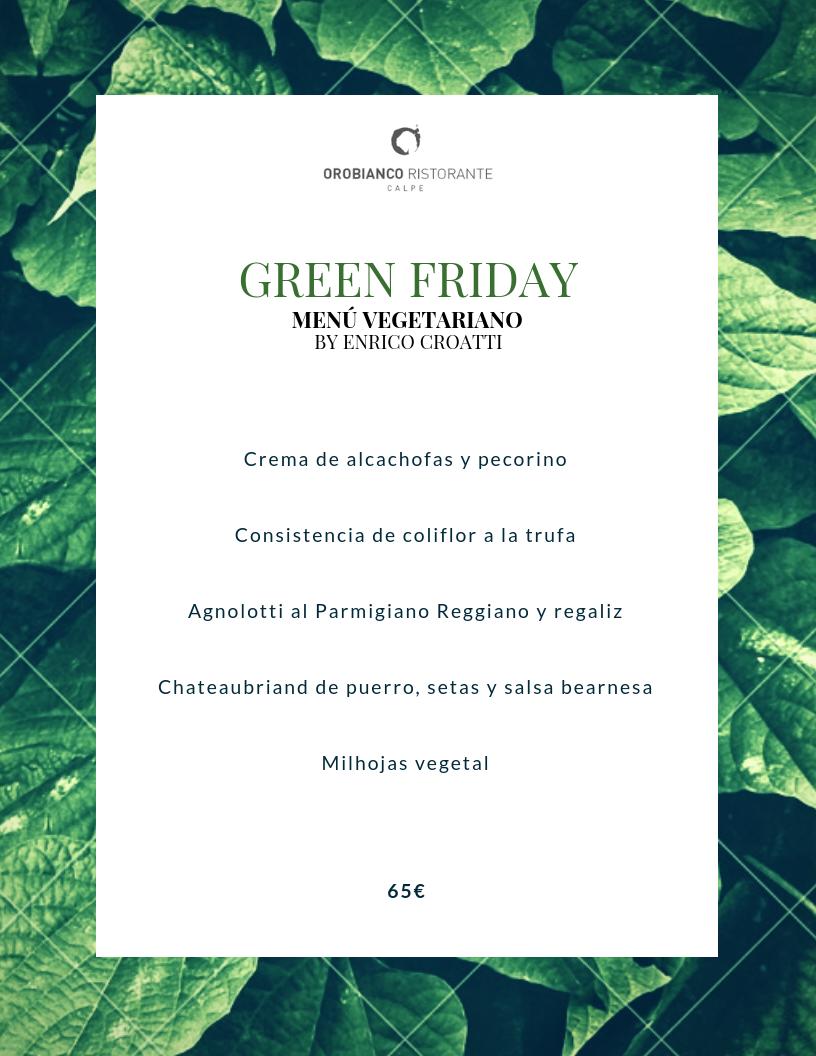 """Orobianco crea su """"Green Friday"""" con un Menú Degustación vegetariano"""